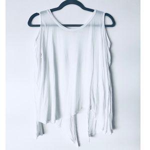 Lush white long sleeve open back top
